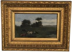 "F17 Late 19th century Painting oil on canvass of Cows in pasture, with split rail fence in back ground also with flying geese in the sky. Mounted in the original gold gilt frame . From a private collection in Talbot County Maryland 11 1/2"" tall x 15 1/2"" long"