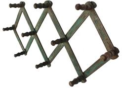 B186 19th century beautiful, expandable Hat Rack with the original green paint  c 1890.  the wood is walnut Measurements are: open all the way it is 32� long x 8 1/2� tall