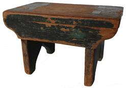 X473 19th century original Windsor green painted mortised Stool, the wood is white pine, double mortised, with a nice cut out  design on each end of the stool circa 1840