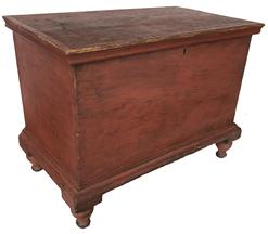 "Y116 19th century York Pennsylvania  small dovetailed case Blanket Chest, with turned feet the wood is  pine and poplar , with applied molding around the lid and base of the Chest, very fine dovetailing one board construction circa 1820 Measurements are: 25"" long x 14 3/4"" deep x 19 1/4"" tall"