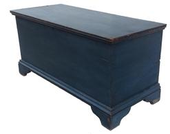 "Z405 EARLY 19th CENTURY  BLANKET CHEST.   Attributed to the Hudson River Valley, pine. circa 1820  Six-board chest on bracket feet and old blue paint. 20""""hIigh. 401/2""wide. 17.1/2""deep. Sold at Carlsen Gallery (New York)."