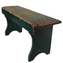"Z76  19th century Pennsylvania  Bench,with old green over red paint  mortised with shaped front, great small size and form. circa 1840 1860  measurements: 39"" long 12"" deep 18"" tall"