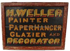 (N49) 19th century sign adverting painting and wall papering and Decorating painted on board, great colors of yellow, black, red circa 1890's