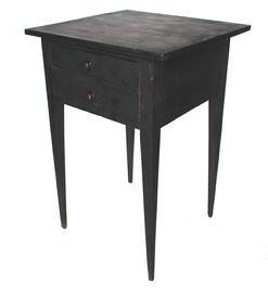 C378 19th century Shenandoah Valley Virginia, Cherry Hepplewhite two drawer side table, old black over the original red painted suface, Splendid tapered legs