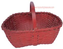 D81 Gathering basket with the original beautiful dry red paint,the handle is steamed and bent and notched with a single wrapped rim ice and tight and very well made