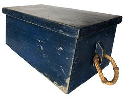 "RM977 Late 19th century miniature Sea Chest in original blue paint canted front, with blind dovetailed case, with the original beckets, from Bar Harbor Maine Measurements are 15"" wide x 8"" deep x 6 1/2"" tall"