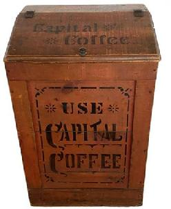 "F192 19th century American  painted wooden advertising bin with hinged lid , stenciled Use Capital Coffee on front and The Ohio Coffee & Spice Co. / Columbus, Ohio top. Red and Black painted ""Capital Coffee"" Bin - Stenciled on top: ""The Ohio Coffee & Spice Co.  Columbus O."" and ""Use Capital Coffee"" on front and sides.   Measurements:  21"" wide x 16"" deep x 32"" tall"