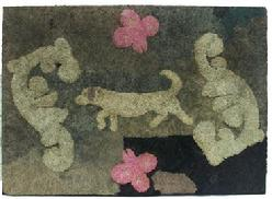 Y96 Hooked Rug found in Maryland, early 20th century, mixed fabrics on burlap. Waldoboro-style raised design of a long bodied dog on point, surrounded by abstract motifs and pink butterflies.