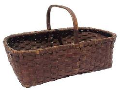 "SP7 Gathering Basket with the original Spanish brown paint single wrapped rim steamed and bent handle very good condition.91/2"" wide x 17"" long"