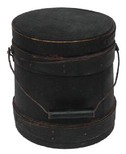 A79  19th century  small New England green painted wooden Firkin, the sides and top are surrounded by a simple overlapping bent wood bands, secured by small copper tacks. The dry windsor green paint is dry and unclean wonderful surface.