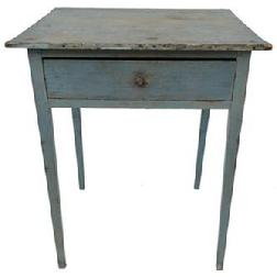E14 Late 18th century Southern hepplewhite one drawer Stand, circa 1780  retaining it's original blue paint, with a dovetailed drawers, mortised and pegged construction, one board top held, in place with tee nails,  the wood is yellow pine