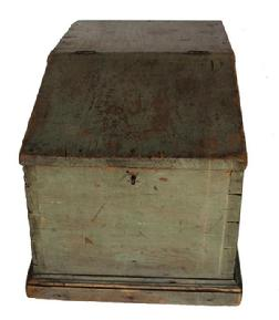 C548  18th century Lancaster County, Pennsylvania Country Store Counter Desk,  with the original beautiful well worn sage green paint, with a dovetailed case, with a slanted hinges lid, very unusual form, the wood is white pine   circa 1790 -1810