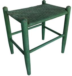 RM1105 Tall Eastern Shore Maryland foot stool in old green paint. Tight woven seat measures 19 1/4� tall 18� wide 14� deep