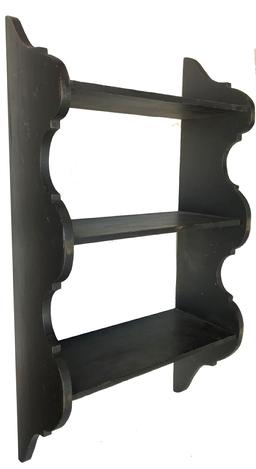 "A135 19th century Wall shelf with the original black paint and scalloped sides, circa 1860, the shelves are mortised into the sides, and it has it's original hooks for hanging  Measurements are 16"" wide x 30"" tall x 9"" deep"