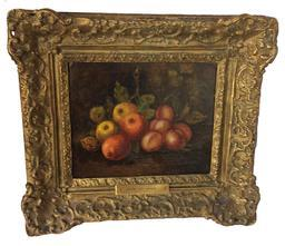 C372 Mid 19th century oil painting on canvas still life of fruit, in original frame, no restoration, brass plate with artist name Henri De Haag