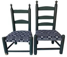 RM1121 Early 19th Century New England Pair of Beautiful Child�s Ladderback chairs in original blue-green paint with wonderfully turned finials and coverlet covered seats. Pair made by same maker and are sturdy and in great condition for their age.