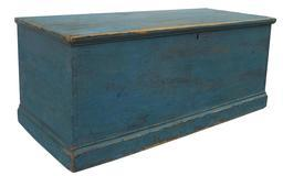 "T431 Early 19th century ( 1810 - 1820 )  Blanket Chest, original dry blue paint, with a dovetailed case, six board construction with an applied base, all original very good condition  Measurements are 40"" long x 17 1/2"" deep x 16 3/4' tall"