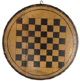 "D193 19th century very unusual Game Board small size round yellow and black 13"" diameter"
