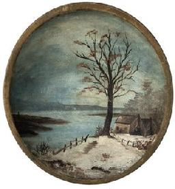D679 19th century hand polychrome painted wooden bowl wiith a Winter Scene, of house by a lake in the snow, beautiful work, bowl is in good condition