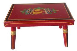 RM263 Pennsylvania Dutch Folk Art, paint decorated foot stool painted popular with vibrant red, yellow, green polychrome decorated surface (C) 1890-1920