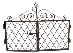 A275 19th century Wrought Iron double Entrance Gates, complete with hinges and latch, beautiful workmanship circa 1850 -1860