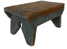 F749 19th century Pennsylvania splayed leg Stool in it's original pewter gray paint, The legs are double mortised through