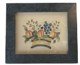 M740) Theorem painting on velvet. The artwork is bright and in the classic style of a basket with fruits. It is in very nice condition. The creamy aged velvet has no holes and is not signed by the artist.