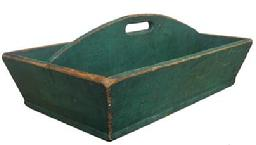 X507 Mid 19th century Carrier, with wonderful dry windsor green paint, one board bottom all square nailed construction, high arched divided with cut out handle circa 1840-1850