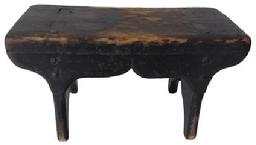 A264  Late 18th century mortised foot stool, with the original black paint, queen ann style scalloped apron, all chamfered, rose head nail construction,