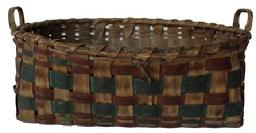 C477 Gathering Basket from West Virginia, with steamed and bent and notched handles with a single wrapped rim,  with green and red bands woven into the sides, has a break in the wrapping around the rim.