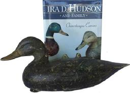 RM751 Gorgeous Ira Hudson (1873-1949) Black Duck Decoy, Chincoteague Island, VA. Circa 1928 featured on page 63 in the book �Ira Hudson and Family Chincoteague Carvers� By Henry Stansbury. Original paint, tack eyes, mandible carving just a outstanding example of Ira�s work!!