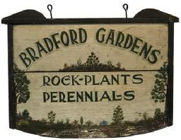 "F69 Early 20th century wooden trade sign, advisting Bradford Gardens, rock, plants and perennials. 27 1/4"" long x 20"" tall"