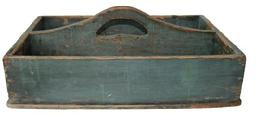 B307 19th century Pennsylvania Carrier with the original green paint, nail construction with square head nails, nice high divider with a cut out handle circa 1840