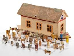 "E210 GERMAN PAINTED WOOD NOAH'S ARK TOY WITH MINIATURE FIGURES, each piece with painted finish, ark having hinged roof with canvas supports, figures comprising two humans and various animals including a giraffe, camel, cow, donkey, and zebra. Unmarked. Late 19th/. Ark 9 5/8"" W, 3"" D, 4 1/4"" H."