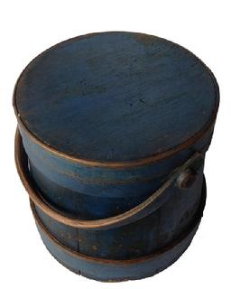 A117 19th century original blue painted Covered Wooden Firkin, tongue and groove softwood staved sides, tapered lap joint wood bands,helded in place with copper tacks with bent wood handle with wood peg attachments