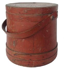 A157 New England original dry red painted Wooden Firkin, tongue and groove softwood staved sides, tapered lap joint wood bands, bent wood handle with wood peg attachments,