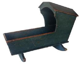A214 Late 18th century , Early 19th century Mahantango Valley Pennsylvania Painted hooded cradle w/Original blue Paint.
