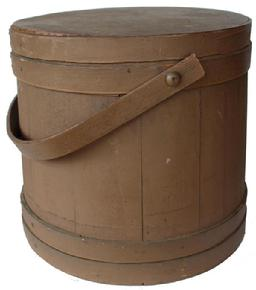 B460 New England original dry nutmeg painted  Wooden Firkin, tongue and groove softwood staved sides, tapered lap joint wood bands, bent wood handle with wood peg attachments,