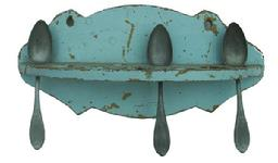 R292 19th Century Hanging Spoon Rack with old blue over the original mustard paint, it holds nine spoon,