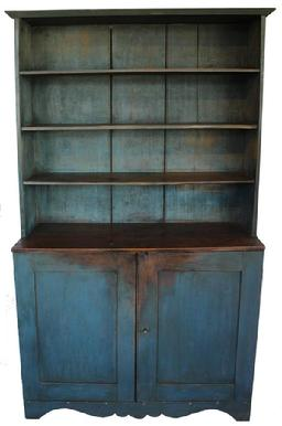 C56219th century Pennslyvania open top Stepback Cupboard, early old blue paint over the original gray, open shelvies over two panel doors, circa 1840