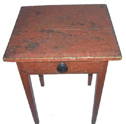 L313 19th century Hepplewhite Stand with the original red paint, dovetailed drawer, the base of the Stand is pegged, and the top is held in place with cut nails,