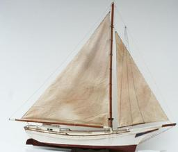 "T369 Exceptional Chesapeake Bay Skipjack working Boat Model, circa 1930 , from Wenona Maryland on Deals Island, Every thing is done properly, and in scale. Measurements are 52 1/2"" long x 46 1/2"" tall"