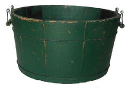 O569 Early 19th century wooden Wash Tub, with great green paint, Notched staved construction with metal banding