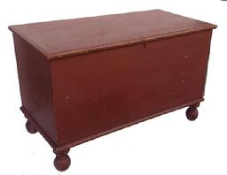 R9 Blanket Chest with the  original red paint, from Pennsylvania, the construction is dovetailed, with very gracefully turned feet, all original