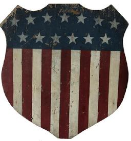 RM880 RARE 19TH CENTURY PATRIOTIC PAINTED FLAG SHIELD SIGNED ON BACK H.W. BAKER  HARRISBURG  PENNSYLVANIA CIRCA 1876