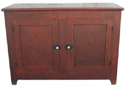 "X319 19th century Lancaster Co. Pennsylvania, low two door Cupboard in fine all original condition. With black on red ""combed decoration"" circa 1850"