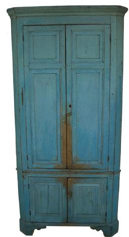 Y299 Early 19th century Pennsylvania four door Corner Cupboard with six raised panels, Early robin egg blue paint over the original blue paint, resting on a high bracket base,With applied mold at the top,full mortise and double pegged doors. circa 1820