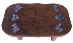 Y413 19th century walnut Stool with inlay American Flags and propellers,and  a patriotic shield, and a thirteen star flaf in each corner, inlayed into the wood