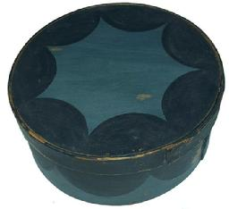 "Z167  19th century paint decorated Pantry Box with wonderful blue paint with black scallop, very unusual. Thick constructions,  . 6""high. 13""diameter"