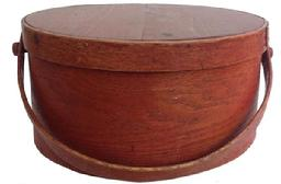 Z403 19th century  bentwood bail handle pantry Box . New England, Massachusetts, Lapped seams and bentwood swing handles. wonderful old  Original  red painted surface.
